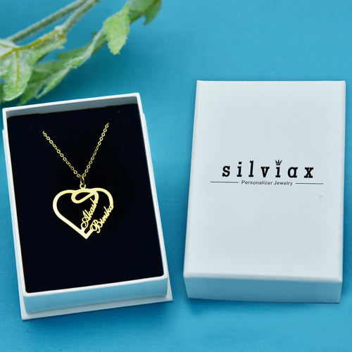 Silver Birthstone Heart Necklace with name