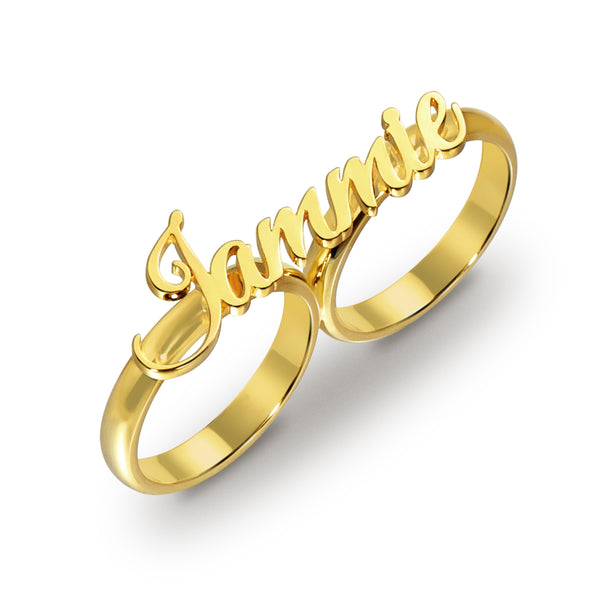 Gold Plated Two Finger personalized Name Ring For Gift