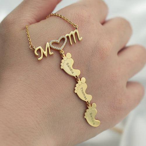 Mom and Baby Feet Personalized Custom 1 to 5 Name Necklace Gold Plated Jewelry Mother's Day Gift for Mom Women