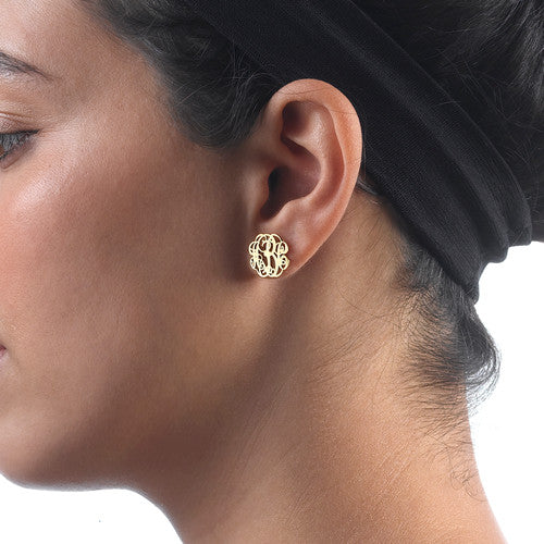 18K Gold Plated Stud Monogram Earrings