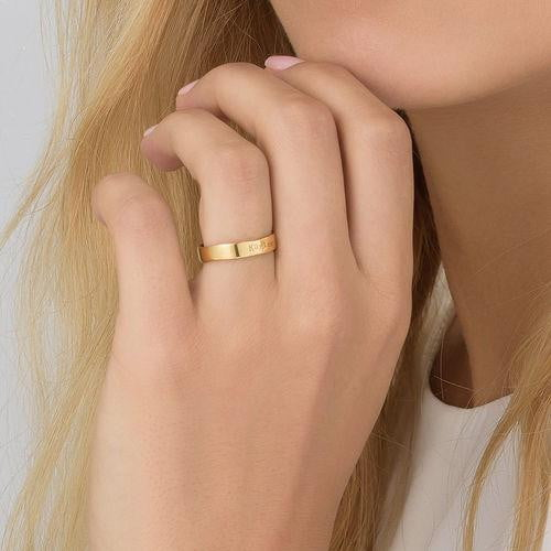 18k gold Engraved Name Ring - Hand Stamped Style - Silviax