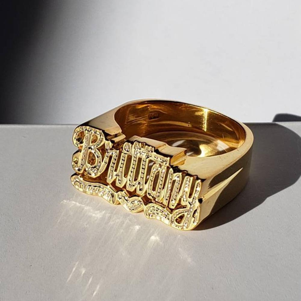 Gold Plated Custom Heart Carved Name Ring