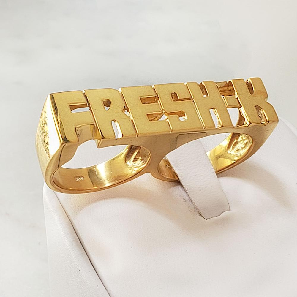 Double Finger Style 18k Gold Plated Personalized Name Ring