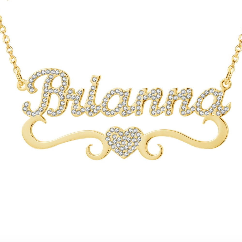 Gold Plated Personalized Zircon Name Necklace with Heart