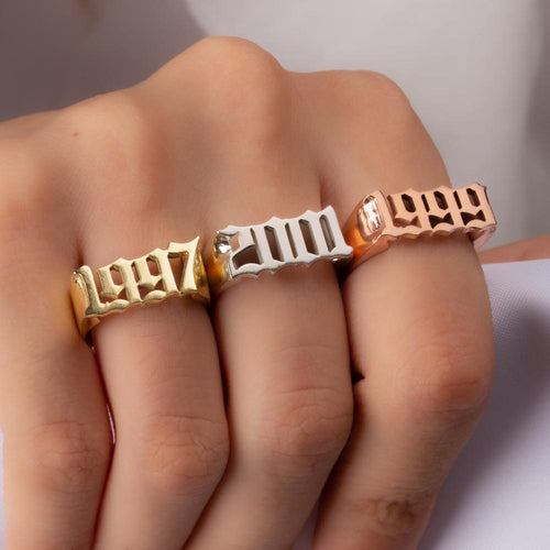 Gothic Date Personalized 18k Gold Plated Ring