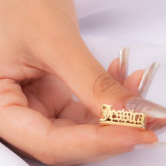 18k Gold Plated Personalized Gothic Name Ring