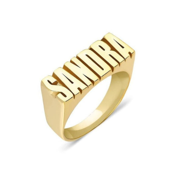 18k Gold Plated Custom Name Ring