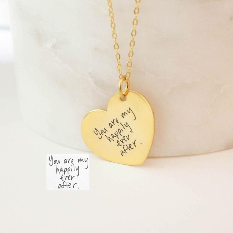 Love Heart Pendant Gold Plated Personalized Engraving Handwriting Necklace