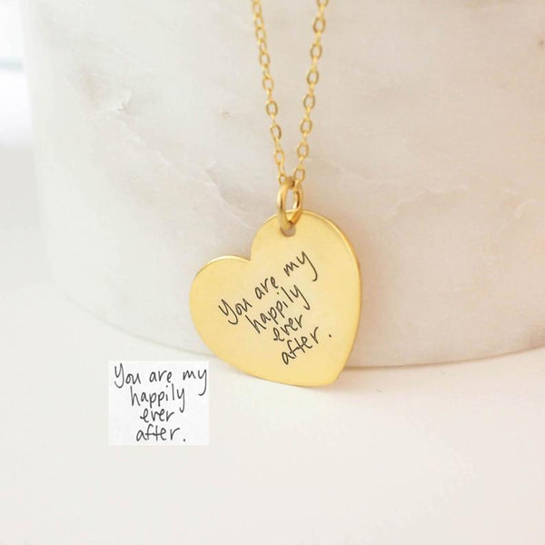 Love Heart Pendant 18k Gold Plated Personalized Engraving Handwriting Necklace