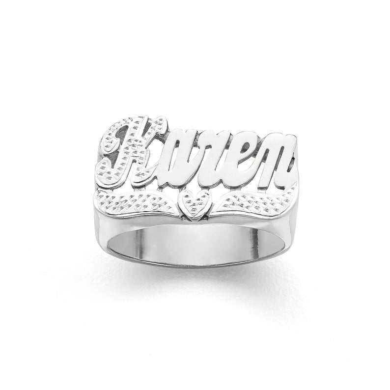 Two Tone Personalized Name Ring with Heart
