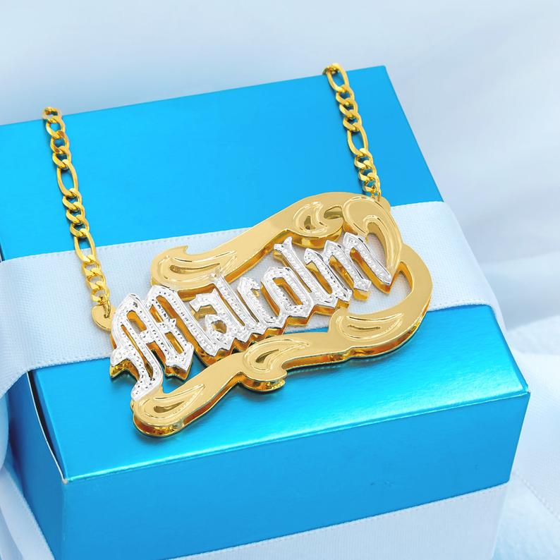 3D Name Two Tone Double Plate Gold Plated Personalized Name Necklace