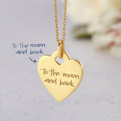 Handwriting Memorial Signature Heart Necklace 18K Gold Plated