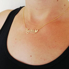 Butterfly Personalise Custom Gold Plated Diamond Name Necklace