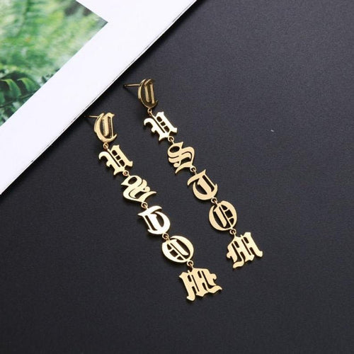 Old English Drop Gold Plated Personalized Name Earrings