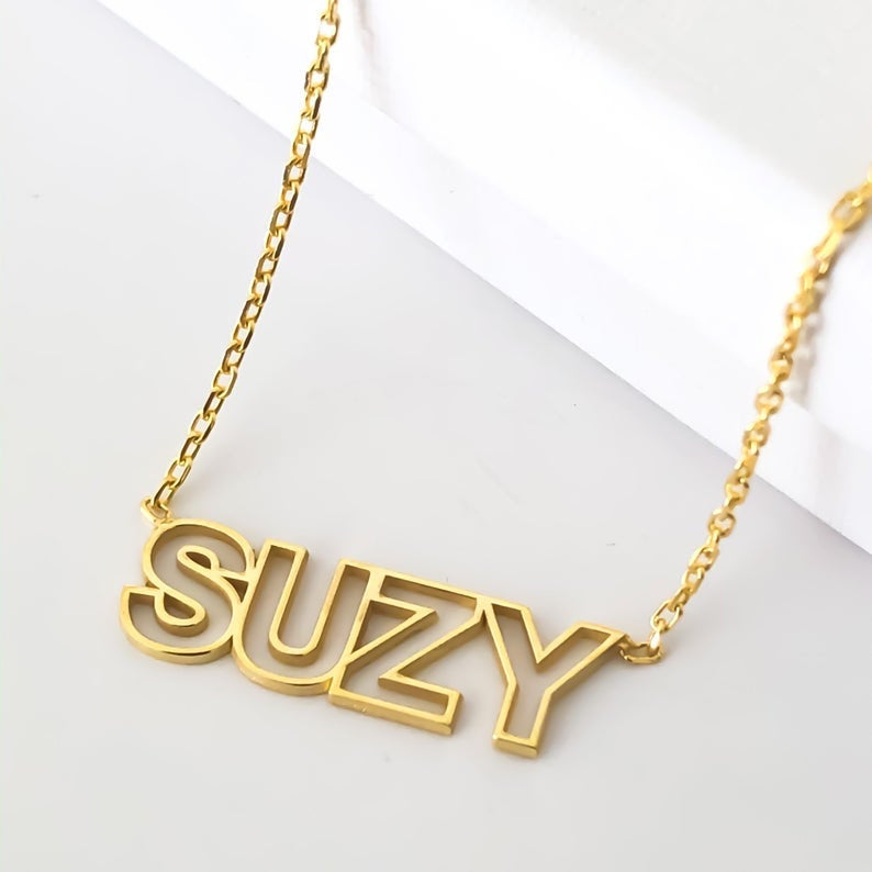 Hollow Initial 18K Gold Plated Personalized Name Necklace
