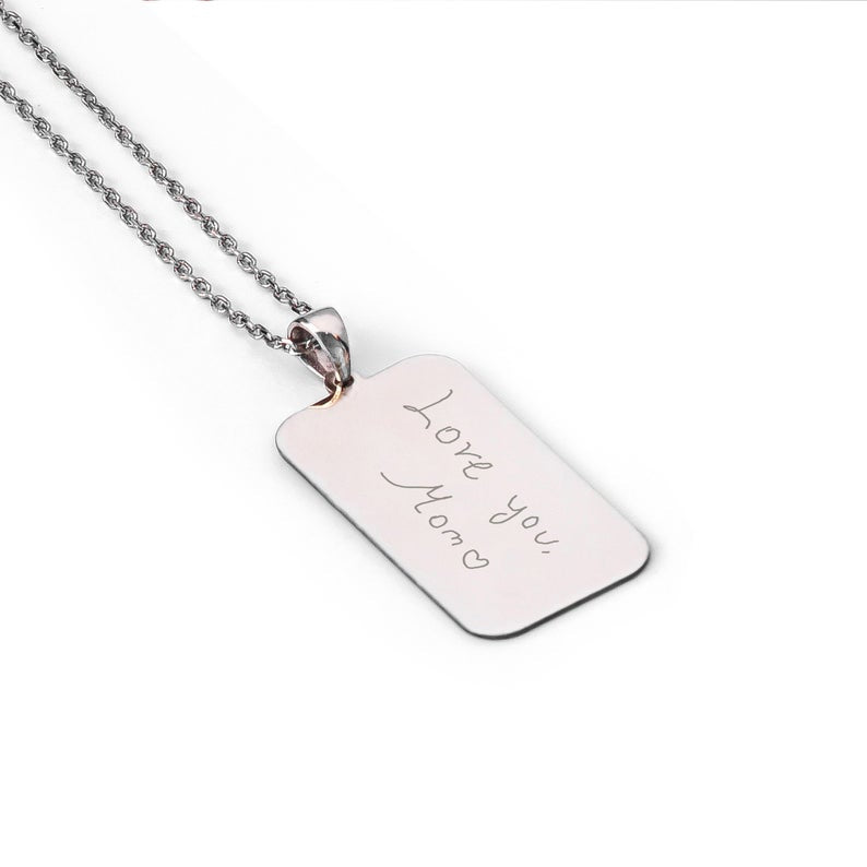 Handwriting Personalized Custom Engraved Signature Bar Necklace 18K Gold Plated