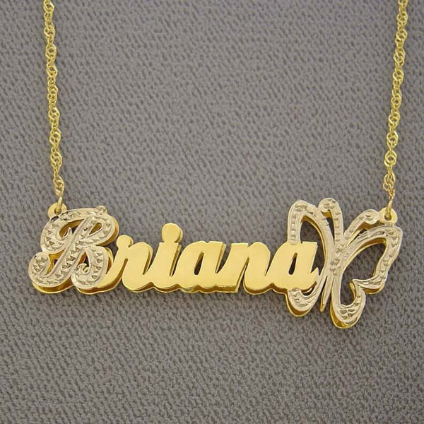 Butterfly Double Plates 3D Custom Name Necklace 18K Gold Plated Jewelry