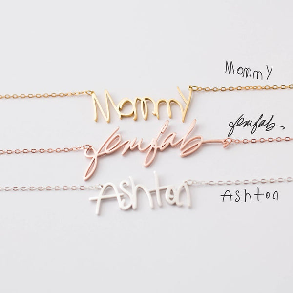 Personalized Signature 18k Gold Plated Custom Handwriting Necklace