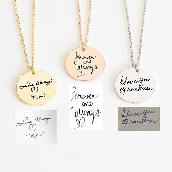 Handwriting Custom Memorial Signature 18K Gold plated Personalized Disc Necklace