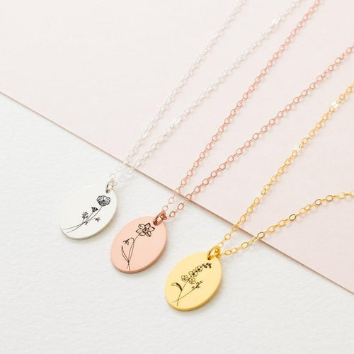 Birth Month Engrave Flower Necklace Personalized 18K Gold Plated