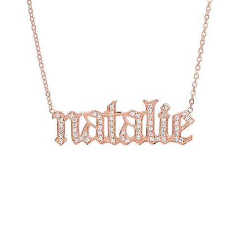Old English Font Name Necklace Personalized Custom Gold Plated