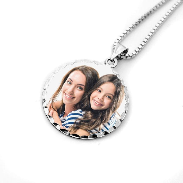 Round Diamond Cut Pendant White Gold Personalized Photo Necklace