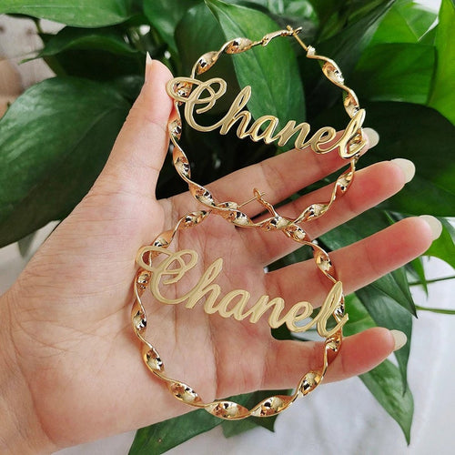 Hoop Earrings Personalised Custom Gold Plated Name Earrings Gift For Women Girl Mom Wife