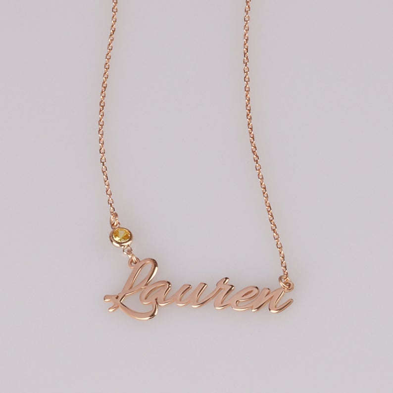 Personalized Signature with Birthstone 18k Gold Plated Custom Handwriting Necklace