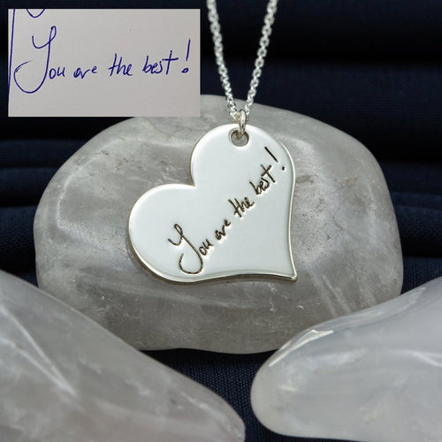 Heart Custom Memorial Signature Necklace 18K Gold Plated