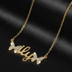Two Butterfly 18K Gold Plated Personalized Custom Name Necklace