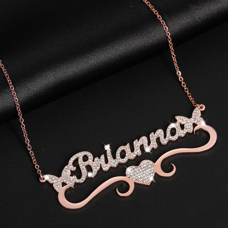 Double Butterfly Love Heart Personalise Custom 18K Gold Plated  Name Necklace