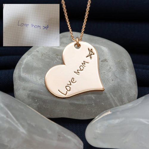 Heart Custom Memorial Signature Necklace Gold Plated
