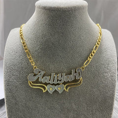 Double Layer Two Tone Two Hearts Personalized Custom Gold Plated Name Necklace