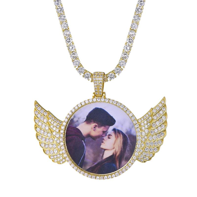 Angel Wings 18K Gold Plated Personalized Circular Pendant Photo Necklace