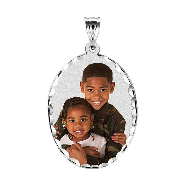 Oval Pendant with Diamond Cut White Gold Personalized Photo Necklace