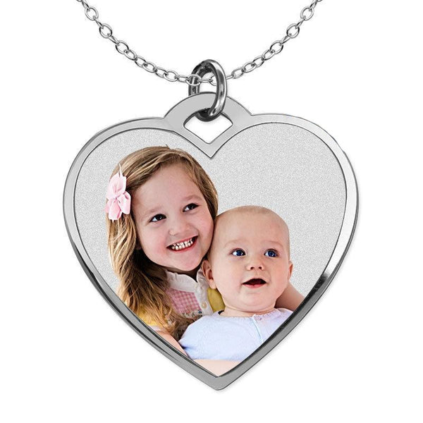 Heart Pendant White Gold Personalized Photo Necklace