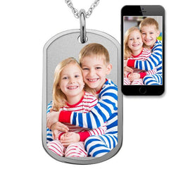 Engraved with Border 18K Gold Plated Personalized Photo Necklace