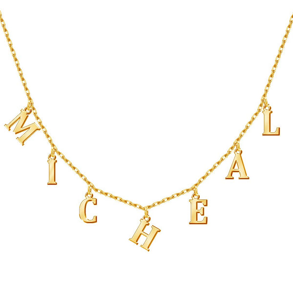 18K Gold Plating Choker Name Necklace engraved - Silviax