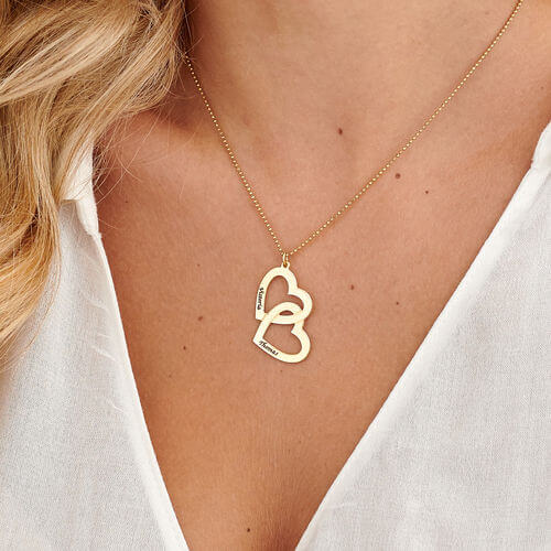 18k Gold Plated 2 Name Necklace With Two hearts