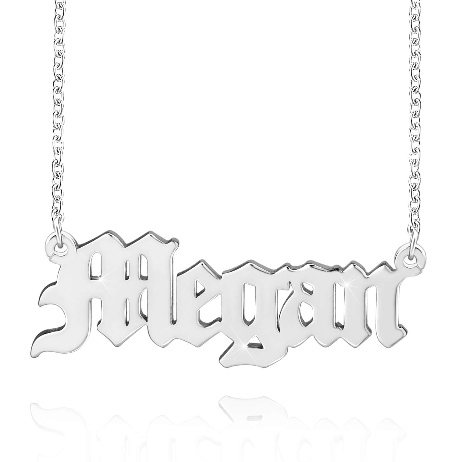 Old English Font Engraved Nameplate Pendant Personalized Custom Gold Plated Name Necklace Goth Style