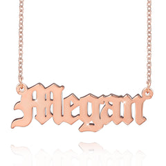 Goth Old English Engraved Name Necklace Pendant 18K Gold