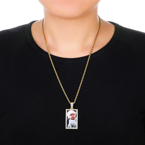 Square Pendant Personalized Custom 18k Gold Plated Photo Necklace