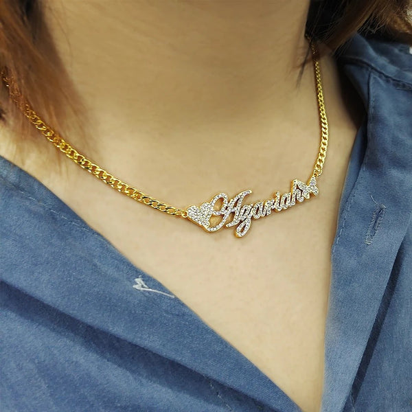 Butterfly and Heart 18K Gold Plated Personalized Name Necklace