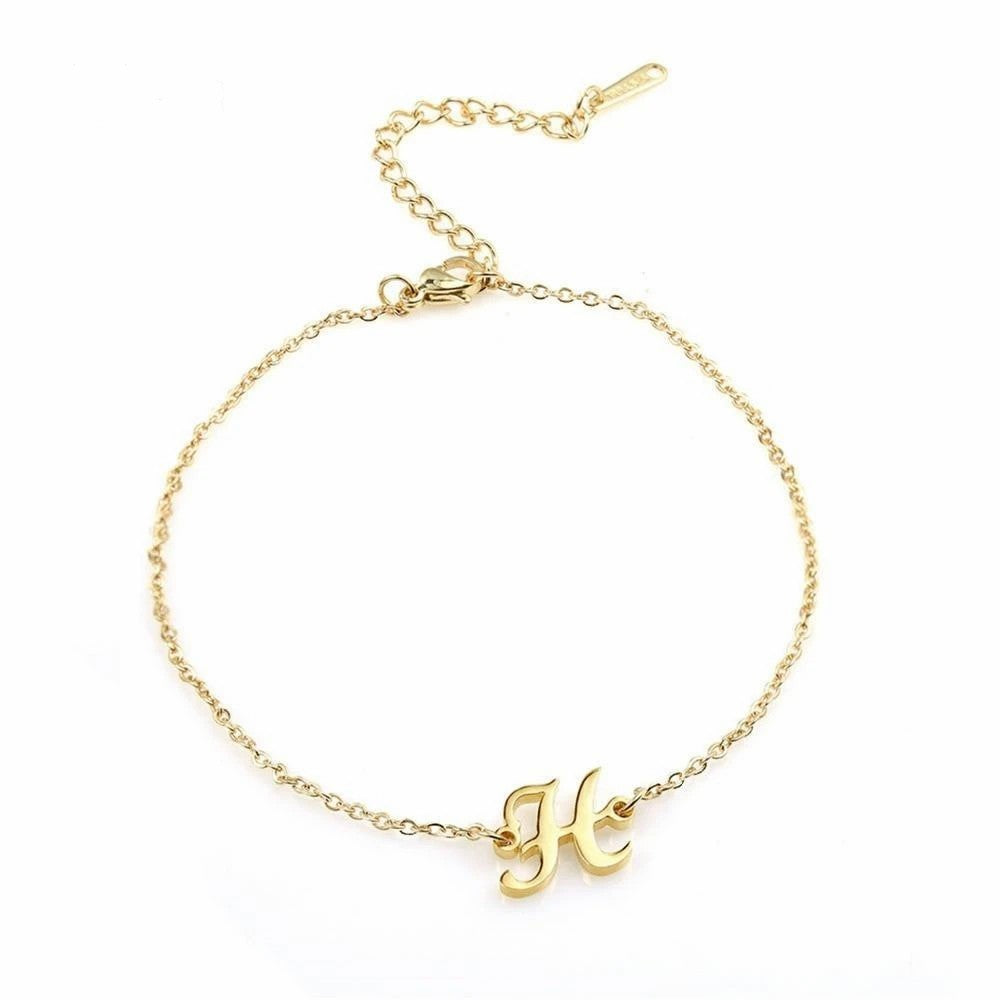 18k Gold Plated Personalized Initials Anklet