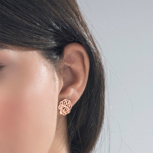 18K Gold Plated Stud Monogram Earrings - Silviax