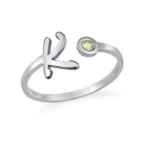 Silver Initial  Ring with Birthstone