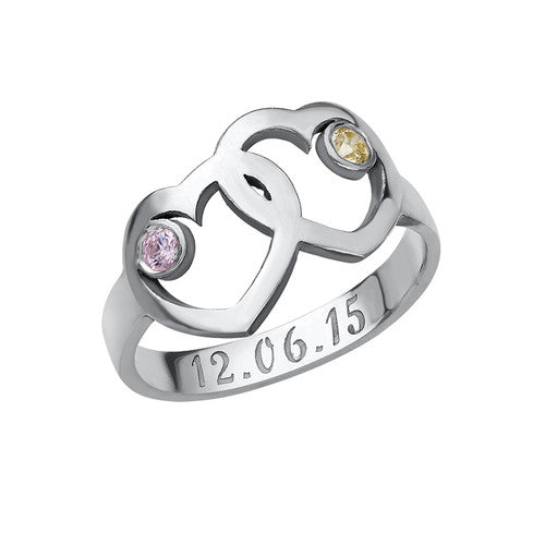 Heart Mother's Ring with Birthstones Silver