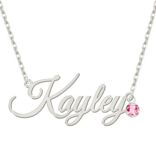 Personalized Name 18K Gold Plated Necklace With Birthstone