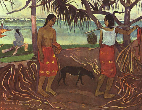 I Raro Te Oviri (Under the Pandanus) by Paul Gauguin