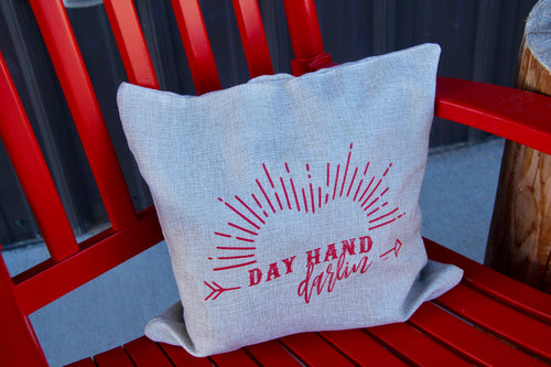 Day Hand Darlin Burlap Pillow Cover